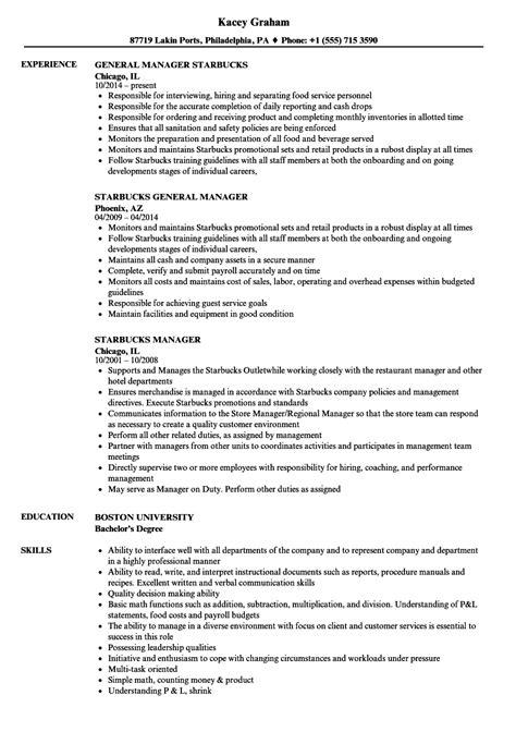 starbucks manager resume sles velvet