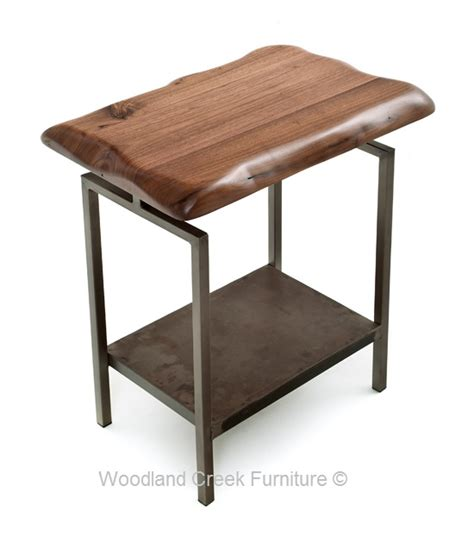 industrial end table modern industrial end table metal console walnut