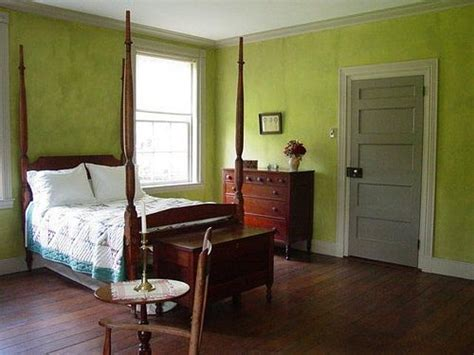 green bedroom custom mixed milk paint  historic home