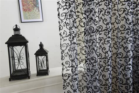 black pattern drapes black flocking pattern sheer curtain window balcony tulle