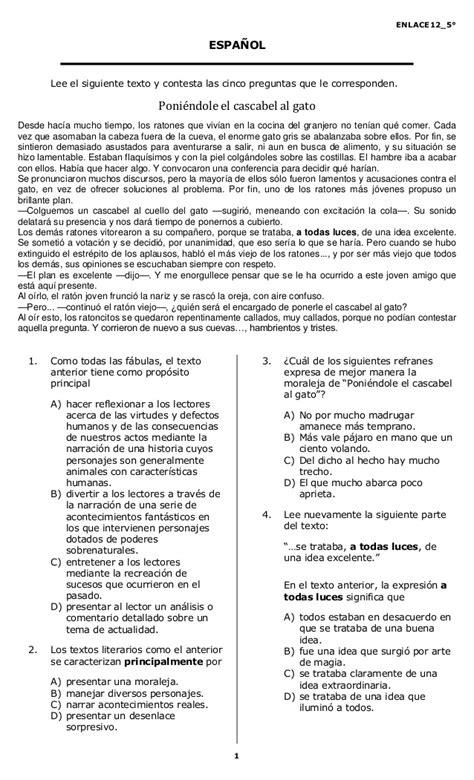 examen de quinto grado quinto primaria enlace 2012
