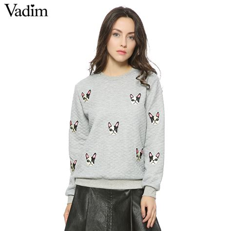 pattern hoodie dress women cute dog pattern patches pullovers autumn style long