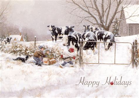 children cows  turn christmas card  lpg