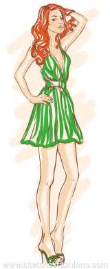 sketches fashions fashion models green dress sketch