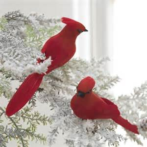 clip on cardinal ornaments set of 2 eclectic