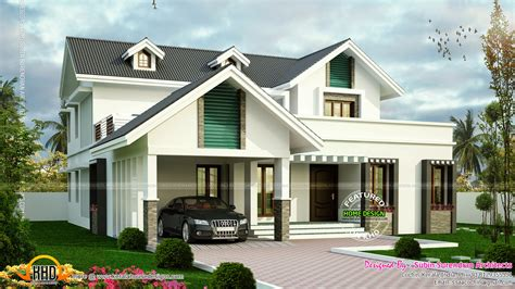 house design dormer windows modern sloping roof house with dormer windows kerala