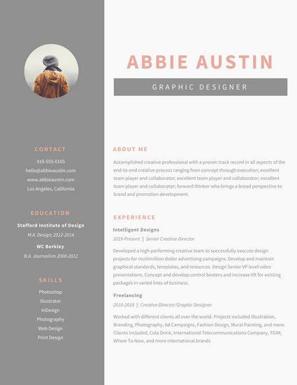graphic design resume template 20 eye catching designer resume templates to get a