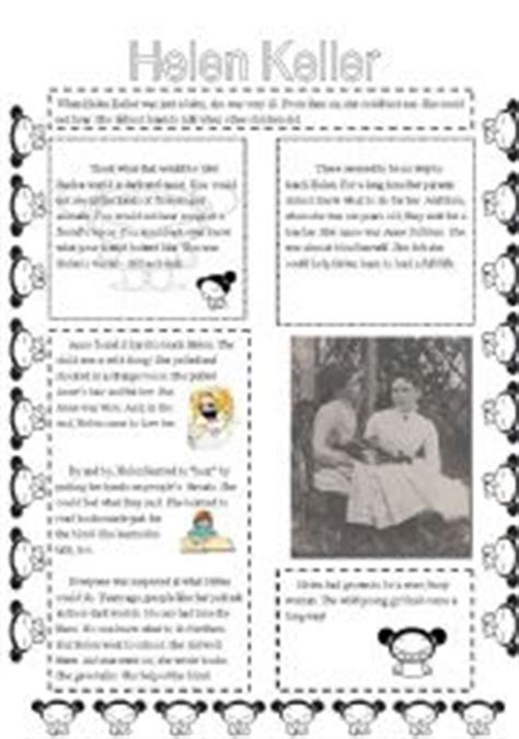 helen keller biography activities english worksheets comprehension helen keller