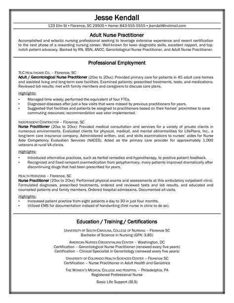sample nurse practitioner student resume Nurse