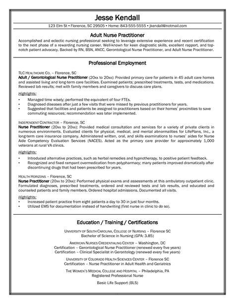 Sample Nurse Practitioner Student Resume Nurse