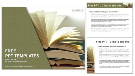 book presentation template composition with vintage hardback books powerpoint