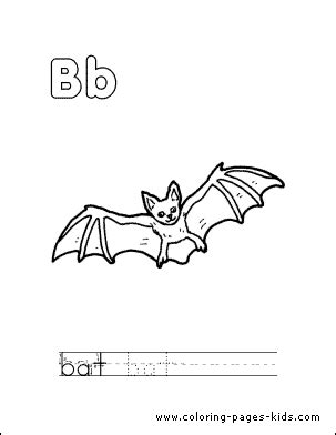 coloring page of a vire bat bat with the letter b color page