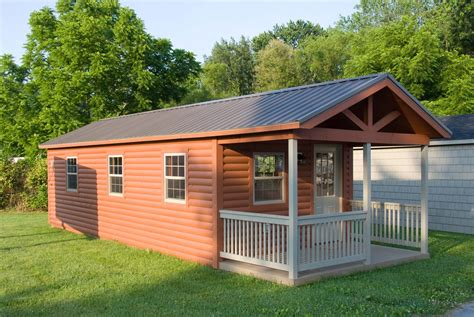 Outdoor Cabins Sheds by Brilliant Prebuilt Cabins With Simple Fencing And Classic