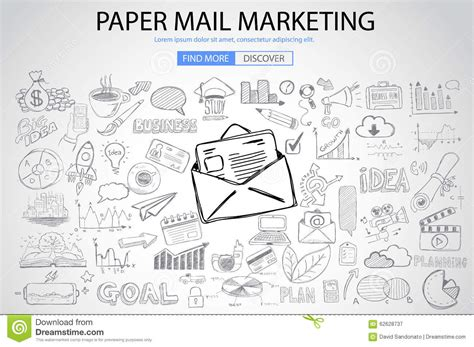 doodle 4 email paper email marketing with doodle design style stock