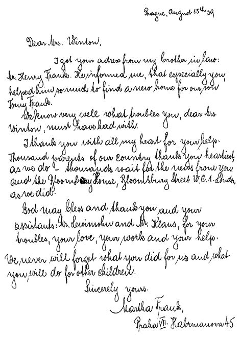 thank you letter to my esl sir nicholas winton and his children thank you letter