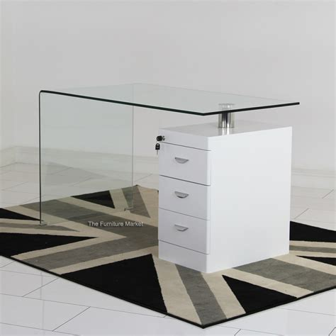 White Gloss Desk With Drawers by Geo Glass Clear Glass Desk With White Gloss 3 Drawer Unit