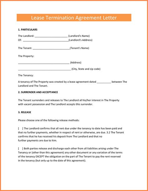 Free Notice Lease Termination Letter Landlord Tenant 7 early termination of lease agreement by landlord