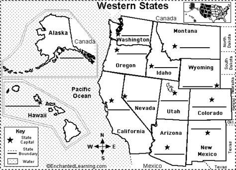 map of western states usa western us state capitals to label classroom