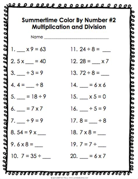 3rd Grade Math Review Worksheets by Color By Number Math Review For 3rd Grade 4 Gains