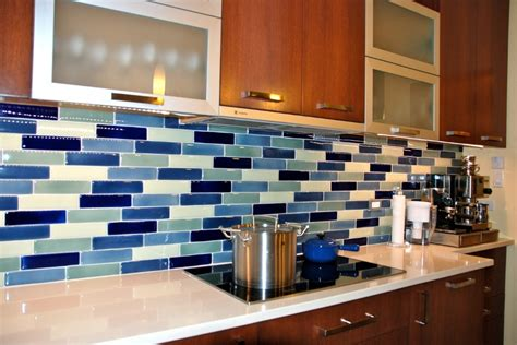blue glass tile kitchen backsplash carerra s kitchen bumble s design diary