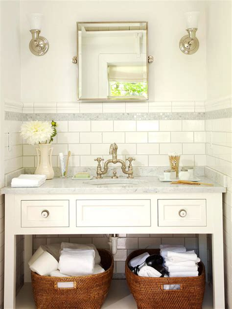 bathrooms with white subway tile subway tile backsplash cottage bathroom bhg