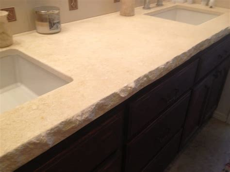 Limestone Vanity Top limestone vanity top chiseled edge tile splash yelp
