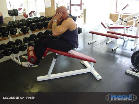 decline bench sit ups decline sit up video exercise guide tips