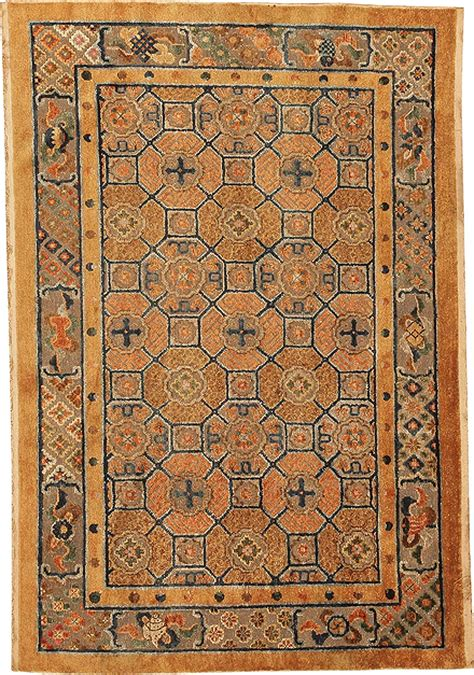 Antique Silk Chinese Oriental Rug With Metallic Threading Silk Rugs For Sale