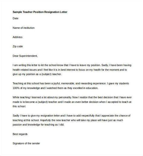 Resignation Letter Teaching Position resignation letter template 14 free sle