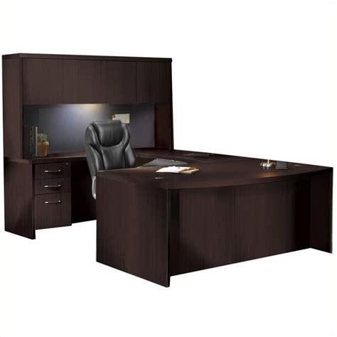U Desk With Hutch Mayline Aberdeen Typical At4 U Shaped Desk With Hutch In Mocha At4ldc
