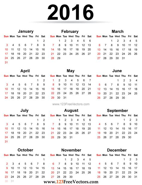 Printable Version Of A 2016 Calendar | 2016 calendar printable free by 123freevectors on deviantart