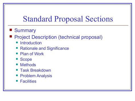 sections of a proposal proposals progress reports