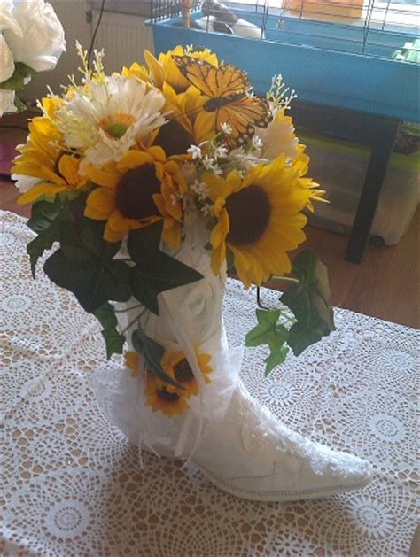 my cowboy boot centerpiece weddingbee photo gallery