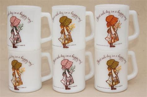 Retro Kitchen Furniture vintage federal glass coffee cups 6 holly hobbie mugs