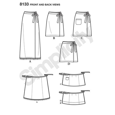 wrap skirt sewing pattern free patterns simplicity pattern 8133 misses learn to sew wrap skirts