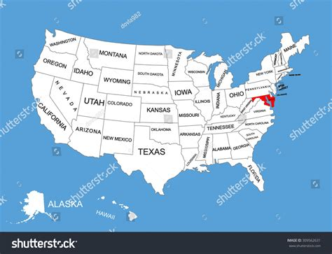 united states map of maryland maryland state usa vector map isolated stock vector