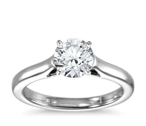 trellis solitaire engagement ring in 14k white gold
