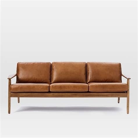 Leather And Wood Sofa Mathias Mid Century Wood Frame Leather Sofa 82 5 Quot West Elm