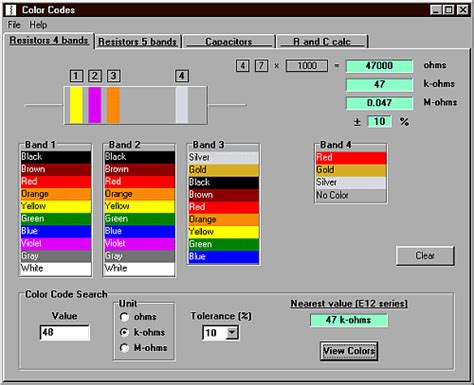 capacitor color code calculator software colcod software displays the color coding on resistors with 4 or 5 color bands