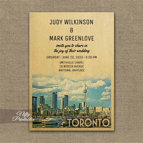 Wedding Invitation Card Toronto by Toronto Wedding Invitation Printed Nifty Printables