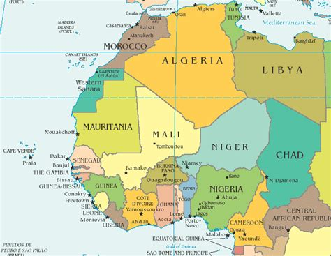 map of west africa west africa and morocco route maps