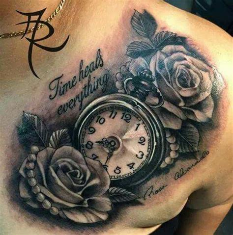 time heals everything rose amp clock tattoo tattoos