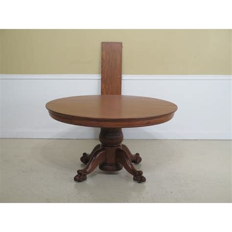 antique victorian oak  clawfoot dining room table