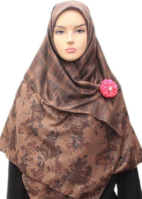Jilbab Segi Empat Fiddini jual fd two b mawar coklat harga dan review indojilbab