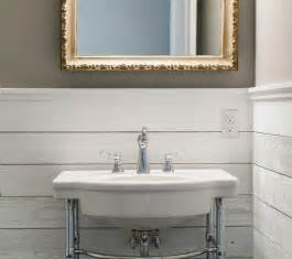 Hand Painted Bathroom Cabinets by Country Style Powder Room With Gilt Vanity Mirror On Gray