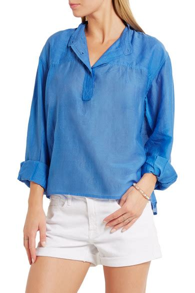 Laper Blouse Crop marant 201 toile laper cotton and silk blend blouse net a porter