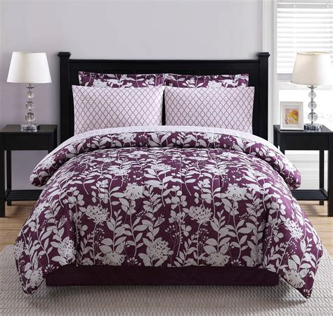 colormate complete bed set purple blooms home bed