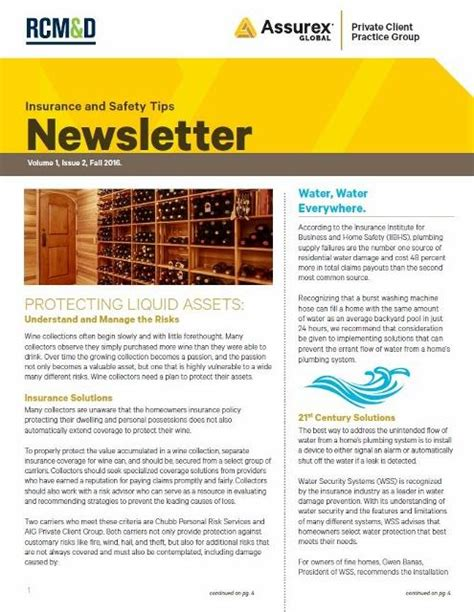insurance and safety tips newsletter