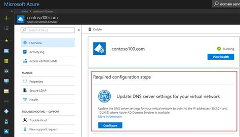 azure active directory domain services update dns