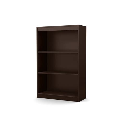 south shore axess 3 shelf bookcase in chocolate 7259766